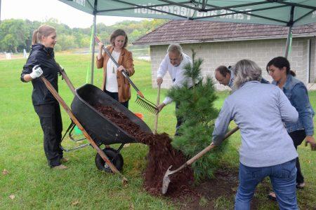 EP forestry technician Lauren Stufft dumping mulch 9-20-21