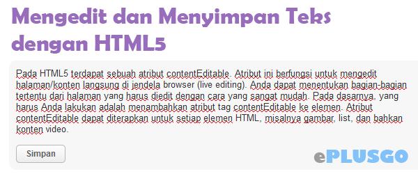ContentEditable Mengedit dan Menyimpan Teks dengan HTML5