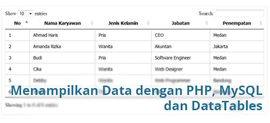 Menampilkan Data dengan PHP, MySQL dan DataTables