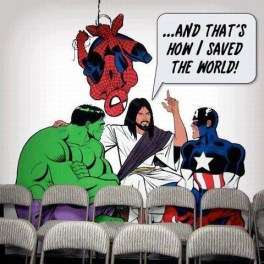 Jesus with superheroes
