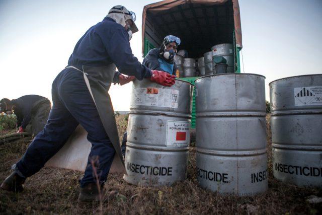 Insektizide für den Helikoptereinsatz in Madagaskar Foto: RIJASOLO/AFP/Getty Images