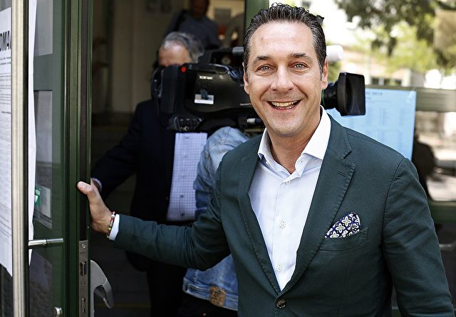 Heinz-Christian Strache, leader of right-wing Austrian Freedom Party (FPOe) leaves a polling station after voting for the European Parliament elections on May 25, 2014 in Vienna. AFP PHOTO / DIETER NAGL        (Photo credit should read DIETER NAGL/AFP/Getty Images)