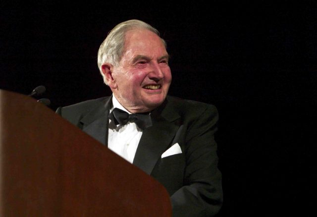 WASHINGTON, DC - NOVEMBER 12: David Rockefeller makes remarks before presenting U.S. Secretary of State Colin Powell with the Marshall Award during a ceremony at the National Building Museum November 12, 2003 in Washington, DC. (Photo by Brendan Smialowski/Getty Images)