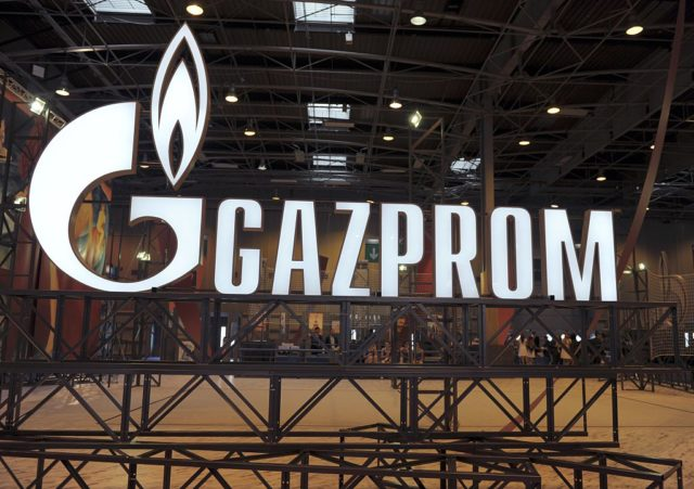 A picture shows the logo of Russian Energy giant Gazprom during the World Gas Conference exhibition in Paris on June 2, 2015. AFP PHOTO / ERIC PIERMONT (Photo credit should read ERIC PIERMONT/AFP/Getty Images)