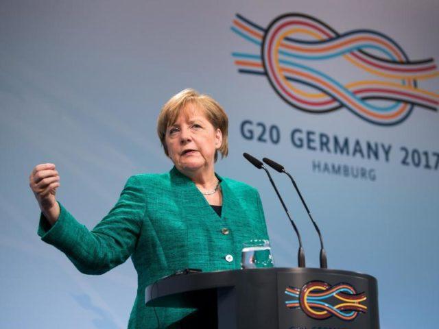 Bundeskanzlerin Angela Merkel zeigte sich am Ende des G20-Gipfels zufrieden. Foto: Bernd von Jutrczenka/dpa