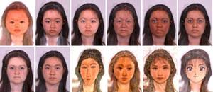 Пример трансформаций человеческого лица (слева направо, сверху вниз): младенец (Baby), ребенок (Child), подросток (Teenage), человек пожилого возраста (Older Adult), афро-карибской расы (Afro-Caribean), западно-азиатской (West-Asian), европеоидной (Caucasian), жено- или мужеподобный (Feminise/Masculinise), рисунок в стиле художника Модильяни (Modigliani), Боттичелли (Botticelli), Эль Греко (El Greco), Муча (Mucha), рисунок в стиле манга (Manga Cartoon). Преобразованное на morph.cs.st-andrews.ac.uk фото с сайта faceresearch.org