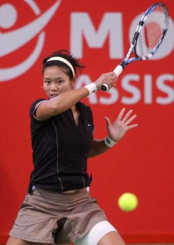 На Ли (Китай) во время турнира с Николь Вайдишовой (Чехия) на 1/4 финала турнира в Голд Коаст (Австралия). Фото: Bradley Kanaris/Getty Images