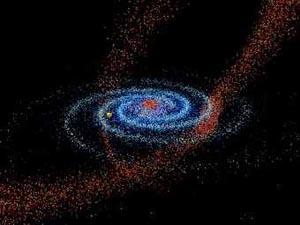Голубой диск: Млечный путь. Желтым: Солнце. Красным: звезды, вырванные из галактики в Стрельце. Изображение с сайта Университета Виргинии