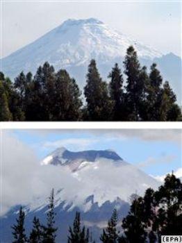 Вулкан Котопакси, Эквадор. Верхний снимок выполнен в 2006 году, нижний – в 2007 году. При сравнении четко видно, что ледник на вершине растаял. Фото с сайта svobodanews.ru