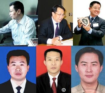 Китайские адвокаты, защищающие невиновность последователей Фалуньгун (слева направо): Ли Субин, Мо Шаобин, Го годин, Цзян Тяньюн, Хань Чжикуан, Ли Хэбин. Фото с epochtimes.com