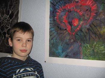 Лева Нафтулин и его рисунок «Простейшие». Фото: Кира Иванова/Великая Эпоха