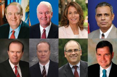 Слева направо сверху вниз: председатель сената Ричард Коди; спикер Ассамблеи Джозеф Робертс; сенатор штата Нью-Джерси Барбара Боуно; член Ассамблеи Чивукула; член Ассамблеи Патрик Дигнан; член Ассамблеи Питер Барнс; член Ассамблеи Риид Гузциора; член Ассамблеи Майкл Доэрти