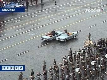 Репетиция парада Победы на Красной площади в Москве. Кадр телеканала