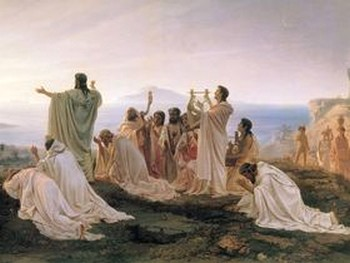 Пифагор и его ученики. Художник - Фёдор Бронников, 19-й век.