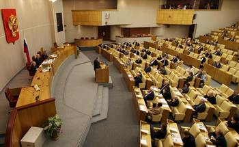 В Госдуме РФ (members Russias lower house).  Фото: Alexey SAZONOV/AFP/Getty Images
