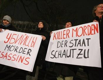Протест, проходивший в Берлине, осуждал убийства  журналистов в России. Фото  Sean Gallup/Getty Images