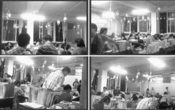 Во время сдачи экзаменов в провинции Хубэй. На проволоках, протянутых вдоль всего класса, висит множество капельниц. Дети одновременно сдают экзамены и получают внутривенное вливание. Фото с сайта epochtimes.com