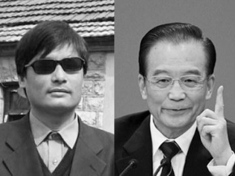 Слепой китайский борец за права человека Чэнь Гуанчэн (слева) и премьер Госсовета КНР Вэнь Цзябао (справа). Аналитик Чжан Тяньлян утверждает, что Вэнь Цзябао может, под давлением США, использовать побег Чэня из-под ареста, чтобы улучшить имидж китайских властей, сместив Чжоу Юнкана. Фото: The Epoch Times и Feng Li/Getty Images