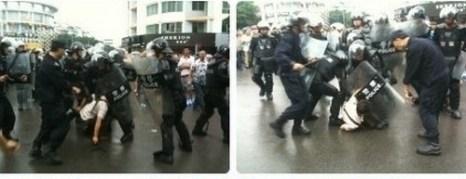 Протесты против строительства завода. Город Шифан провинция Сычуань. Июль 2012 год. Фото с epochtimes.com
