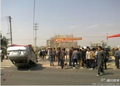 Протесты крестьян против отъёма земли. Деревня Шанбу провинции Гуандун. Февраль 2013 года. Фото с molihua.com