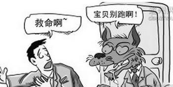 Карикатура на китайского партийного функционера Ли Пиншаня, пытающегося изнасиловать молодого человека. На рисунке парень кричит: «Спасите», а волк (Ли Пиншань) говорит: «Детка, куда же ты убегаешь». Источник: northnews.cn