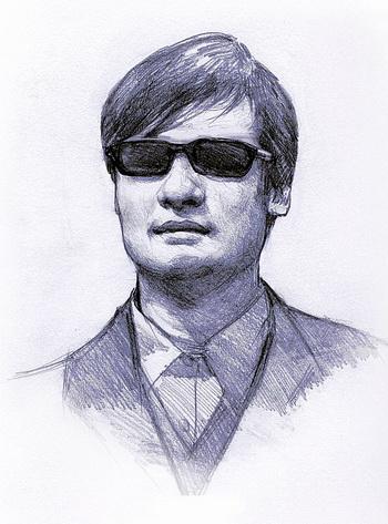 Слепой активист-адвокат Чэнь Гуанчэн. Иллюстрация: Vivan Song/Великая Эпоха (The Epoch Times)