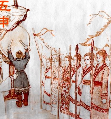 Сунь-Цзы снова и снова объясняет женщинам смысл барабанного боя, чтобы они смогли в полной мере понять его. Иллюстрация: Flora Chung/Великая Эпоха (The Epoch Times)