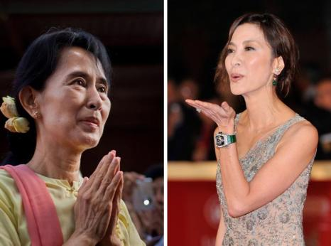 Аунг Сан Су Чжи (Л) и актриса Michelle Yeoh (П). Фото (Л): Drn/Getty Images, Фото (П): Gareth Cattermole/Getty Images