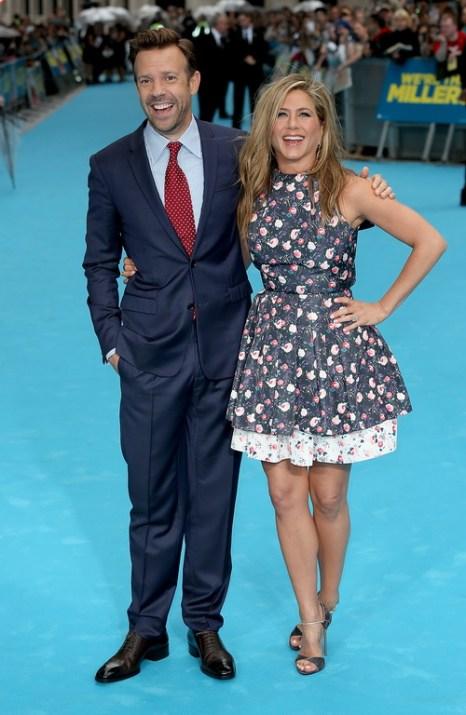 «Мы — Миллеры». Джейсон Судейкис и Дженнифер Энистон на премьере фильма «Мы — Миллеры» в Лондоне, Англия. Фото: Tim P. Whitby/Getty Images