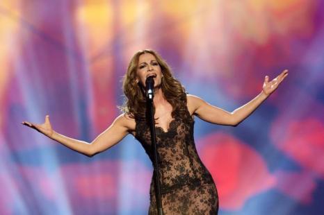 Деспина Олимпиу из Кипра выступает в первом полуфинале Евровидения-2013 в Мальмё. Фото: Janerik Henriksson / SCANPIX/AFP/Getty Image