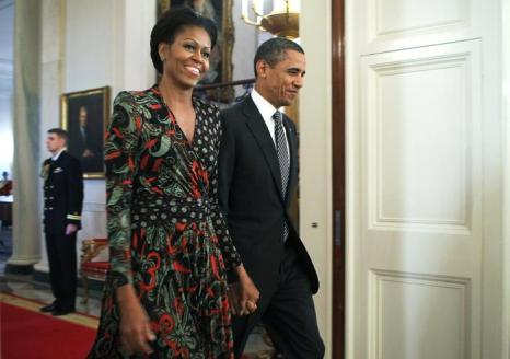 Президент Барак Обама и первая леди Мишель Обама в Белом доме, 13 февраля 2012 года, Вашингтон. Фото: MANDEL NGAN/AFP/Getty Images
