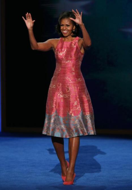 Первая леди Мишель Обама выступает на Warner Cable Arena 4 сентября 2012 года в Шарлотте, Северная Каролина. Фото: Alex Wong/Getty Images