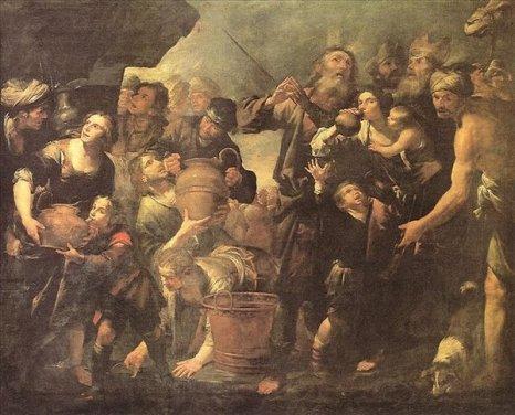 Моисей,  добывающий воду из скалы.  Картина итальянского художника Бассано Леандро. Фоторепортаж. Фото с сайта liveinternet.ru