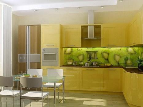 Роль современных элементов отделки: фартук из стекла с фотопечатью. Фото с commeb.ru