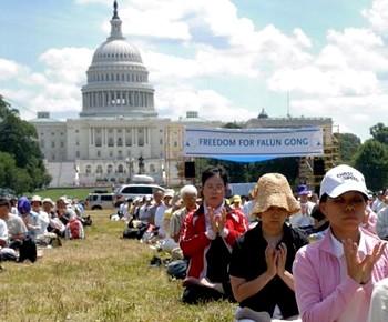 Нас легко найти: практикующие Фалуньгун выполняют упражнения в Национальном парке 19 июля 2009 года. Фото: Джим Гирагосян /Великая Эпоха
