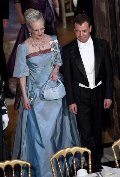 В честь Дмитрия Медведева в королевском дворце был устроен прием. Фото: KELD NAVNTOFT/AFP/Getty Images