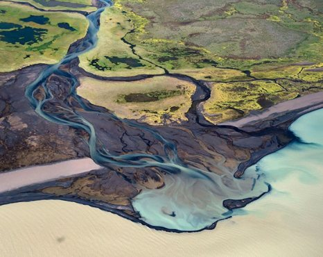 Реки Исландии с высоты птичьего полёта.  Фото: fresher.ru