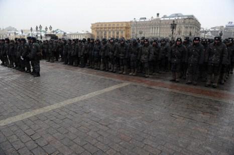 Новые столкновения фанатов с кавказцами ожидались  сегодня в Москве. Фоторепортаж. Фото: NATALIA KOLESNIKOVA/AFP/Getty Images