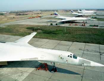 Стратегический бомбардировщик Ту-160. Фото: Stringer / AFP / Getty Images