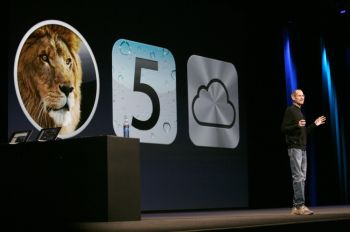 Генеральный директор Apple Стив Джобс представляет Apple с операционной системой следующего поколения «Mac OS X Lion» в компании Apple Worldwide Developers на конференции в Центре Moscone в Сан-Франциско 6 июня, Калифорния. (Kimihiro Hoshino/Getty Images)