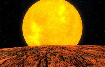 Вид на Kepler-10 с поверхности новой экзопланеты (иллюстрация НАСА / Kepler Mission / Dana Berry).