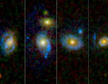 Астрономы неожиданно обнаружили световые круги и дуги вокруг некоторых галактик. Фото: NASA/ESA /JPL-Caltech/STScI /UCLA