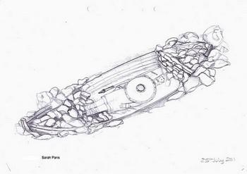 Рисунок лодки, найденной в захоронении. Фото: Sarah Paris /University of Manchester