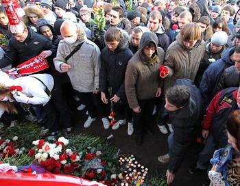 Акция памяти Егора Свиридова в Москве. Фото: Alexey SAZONOV/AFP/Getty Images