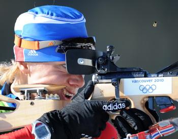 Ольга Зайцева стала серебряным призером гонки с масс-старта. Фото: Don EMMERT/AFP/Getty Images