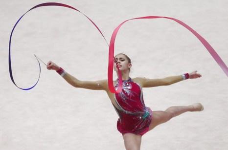 Дарья Сватковская на Чемпионате Европы по художественной гимнастике в Вене. Фото: ALEXANDER KLEIN/AFP/Getty Images