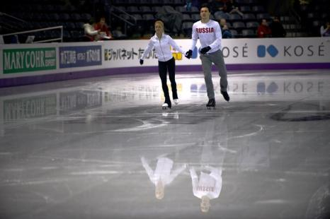 Российские фигуристы Волосожар и Траньков провели подготовку к Чемпионату мира. Фото: BRENDAN SMIALOWSKI/AFP/Getty Images