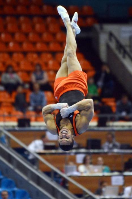 В Москве стартовал Чемпионат Европы с квалификации у мужчин 17 апреля 2013 года. Фото: NATALIA KOLESNIKOVA/AFP/Getty Images
