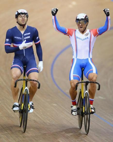 Денис Дмитриев завоевал первую для России медаль велоспорта в спринте. Фото: Michael Steele/Getty Images