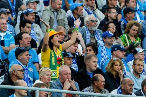 Питерский «Зенит» не смог одолеть «Кубань» в матче 3 тура Чемпионата России по футболу 26 июля 2013 года на стадионе «Петровский». Фото: Epsilon/Getty Images